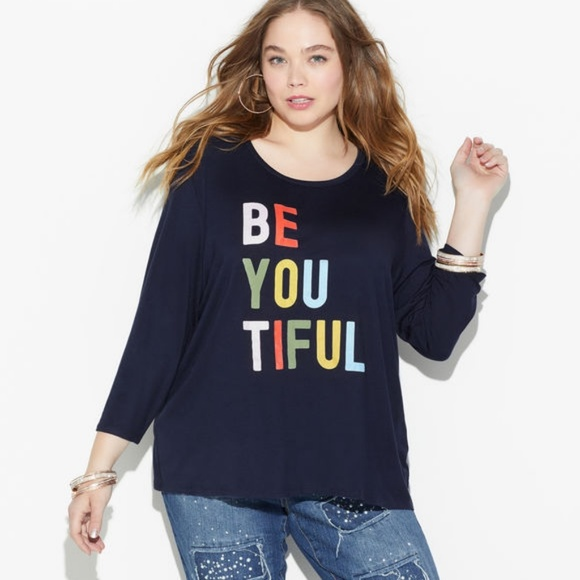 Loralette Tops - Loralette || Be You Tiful Navy Tee